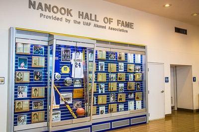 The Hall of Fame wall in the Patty Center honors former outstanding Nanook athletes and their accomplishments.  Filename: ATH-12-3532-02.jpg
