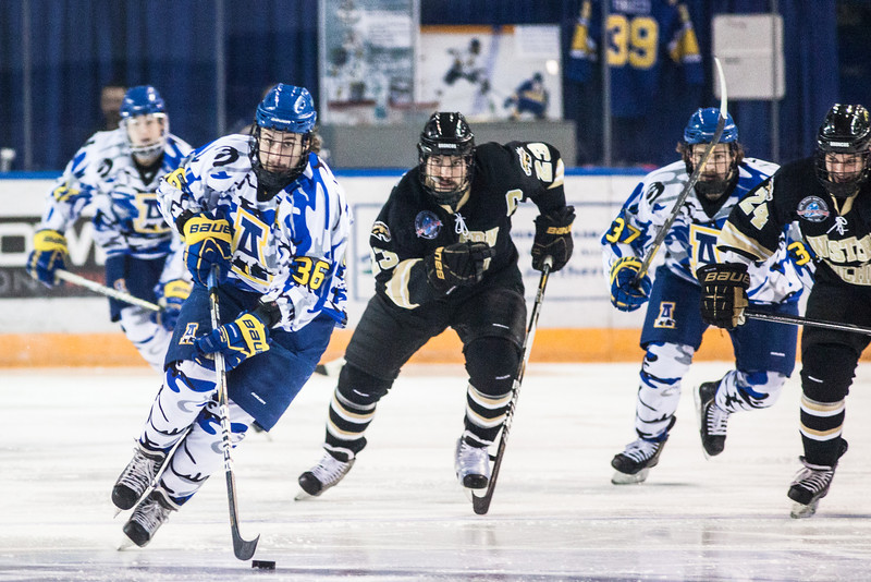 "UAF Mens Hockey Team sports on blue camouflage jerseys as part of a 10-day military appreciation event hosted by the Alaska Nanooks at a game against Western Michigan Nov. 16, 2012 at the Carlson Center.  <div class=""ss-paypal-button"">Filename: ATH-12-3656-41.jpg</div><div class=""ss-paypal-button-end"" style=""""></div>"
