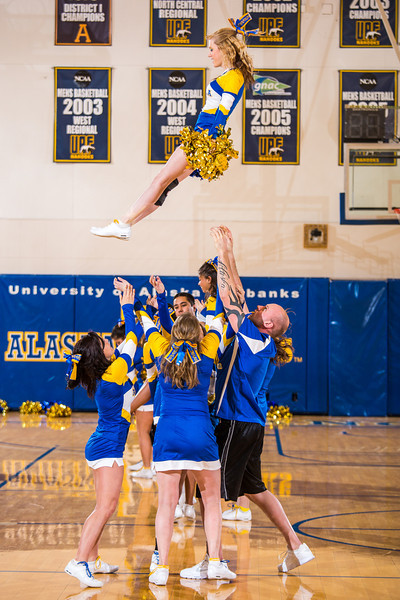 "UAF cheerleaders keep the crowd entertained during a timeout in the Nanooks' game against the UAA Seawolves in the Patty Center.  <div class=""ss-paypal-button"">Filename: ATH-13-3700-190.jpg</div><div class=""ss-paypal-button-end"" style=""""></div>"