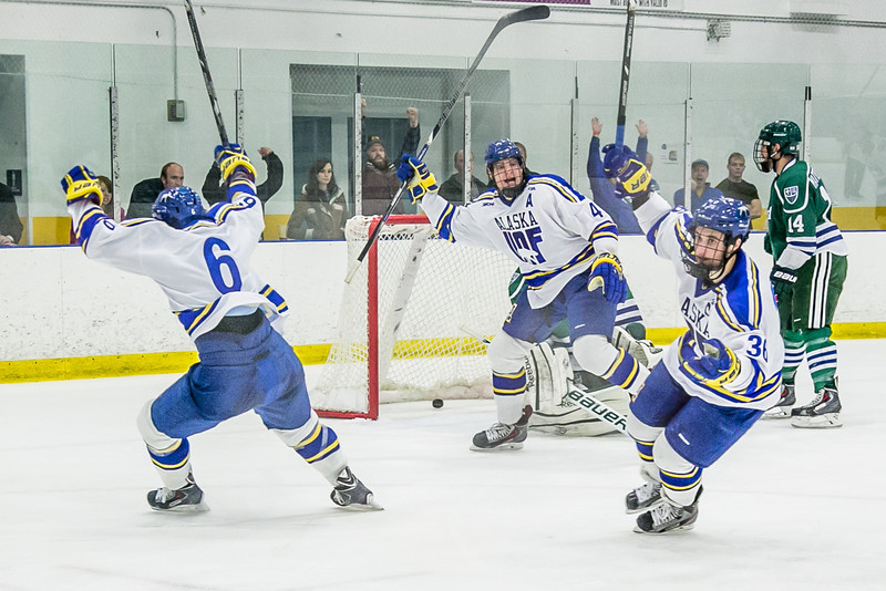 "Senior Colton Beck reacts after scoring a tying goal during the Nanooks game against the Mercyhurst Lakers in the Patty Ice Arena.  <div class=""ss-paypal-button"">Filename: ATH-13-3982-148.jpg</div><div class=""ss-paypal-button-end"" style=""""></div>"