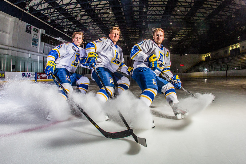"""Michael Quinn, left, Cody Kunyk and Colton Beck will return as seniors to lead the Nanooks in 2013 as the team makes its initial foray into the tough WCHA (Western Collegiate Hockey Association).  <div class=""""ss-paypal-button"""">Filename: ATH-13-3818-79.jpg</div><div class=""""ss-paypal-button-end"""" style=""""""""></div>"""