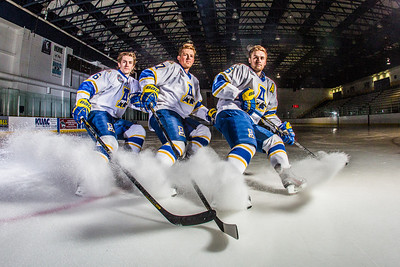 Michael Quinn, left, Cody Kunyk and Colton Beck will return as seniors to lead the Nanooks in 2013 as the team makes its initial foray into the tough WCHA (Western Collegiate Hockey Association).  Filename: ATH-13-3818-79.jpg