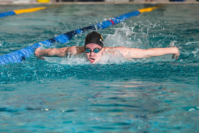 Junior Margot Adams competes in the 100-yard butterfly event during the Nanooks' meet against Loyola Marymount in the Patty Pool.  Filename: ATH-13-3991-153.jpg