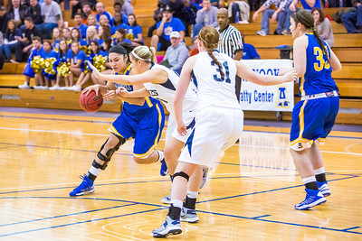Junior Ruth O'Neal drives toward the lane during first half action in the Nanooks' game against the Colorado School of Mines in the Patty Center.  Filename: ATH-12-3639-36.jpg