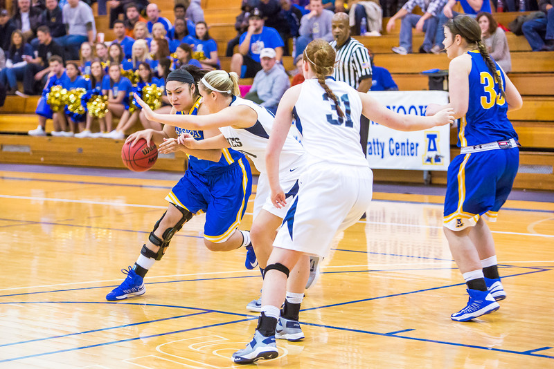 """Junior Ruth O'Neal drives toward the lane during first half action in the Nanooks' game against the Colorado School of Mines in the Patty Center.  <div class=""""ss-paypal-button"""">Filename: ATH-12-3639-36.jpg</div><div class=""""ss-paypal-button-end"""" style=""""""""></div>"""