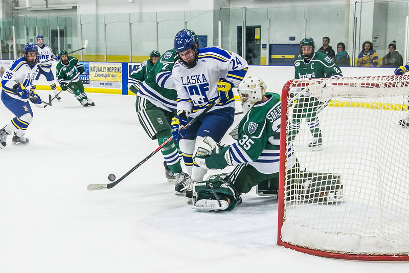 """Sophomore Nolan Huysmans tries to get a shot off early in the Nanooks' game against Mercyhurst in the Patty Ice Arena.  <div class=""""ss-paypal-button"""">Filename: ATH-13-3982-41.jpg</div><div class=""""ss-paypal-button-end"""" style=""""""""></div>"""