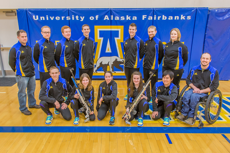 """The 2013-14 Nanook rifle team poses for a group photo in the Patty Gym.  <div class=""""ss-paypal-button"""">Filename: ATH-14-4091-18.jpg</div><div class=""""ss-paypal-button-end"""" style=""""""""></div>"""