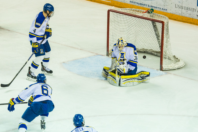 """Alaska Nanooks Mens Hockey Team and the SeaWolves face off at the Carlson Center.  <div class=""""ss-paypal-button"""">Filename: ATH-14-4118-37.jpg</div><div class=""""ss-paypal-button-end""""></div>"""
