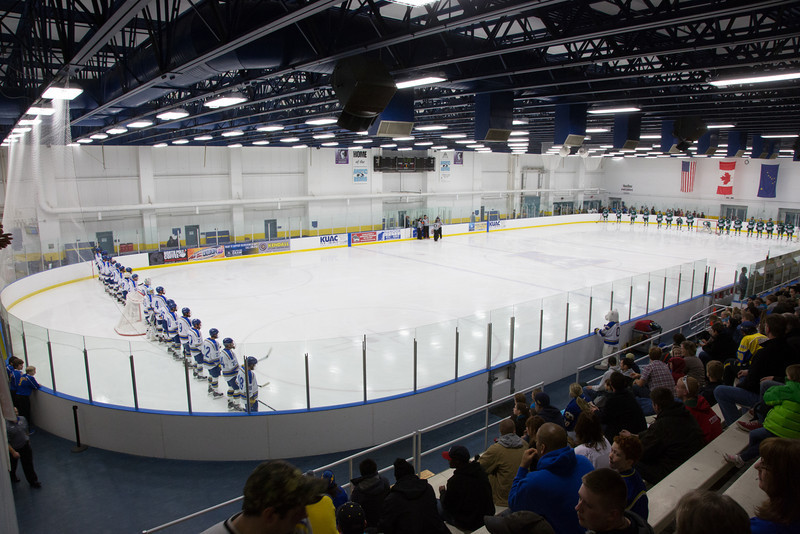 "The Nanooks line up against the Mercyhurst  Lakers from Eerie, Pennsylvania in the Patty Ice Arena.  <div class=""ss-paypal-button"">Filename: ATH-13-3982-4.jpg</div><div class=""ss-paypal-button-end"" style=""""></div>"