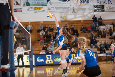 Sophomore Britt Glaeser skies for a kill during the Nanooks' match against Montana State-Billings in the Patty Center.  Filename: ATH-12-3638-173.jpg