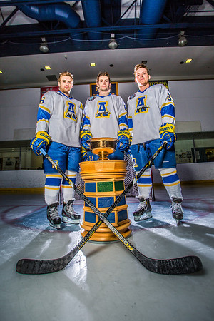 Colton Beck, left, Michael Quinn, center, and Cody Kunyk return as seniors to lead the Nanooks in 2013 as the team makes its initial foray into the tough WCHA (Western Collegiate Hockey Association).  Filename: ATH-13-3818-52.jpg
