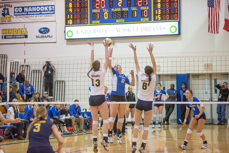 """Freshman Megan Morrison skies for a kill during the Nanooks' match against Montana State-Billings in the Patty Center.  <div class=""""ss-paypal-button"""">Filename: ATH-12-3638-115.jpg</div><div class=""""ss-paypal-button-end"""" style=""""""""></div>"""