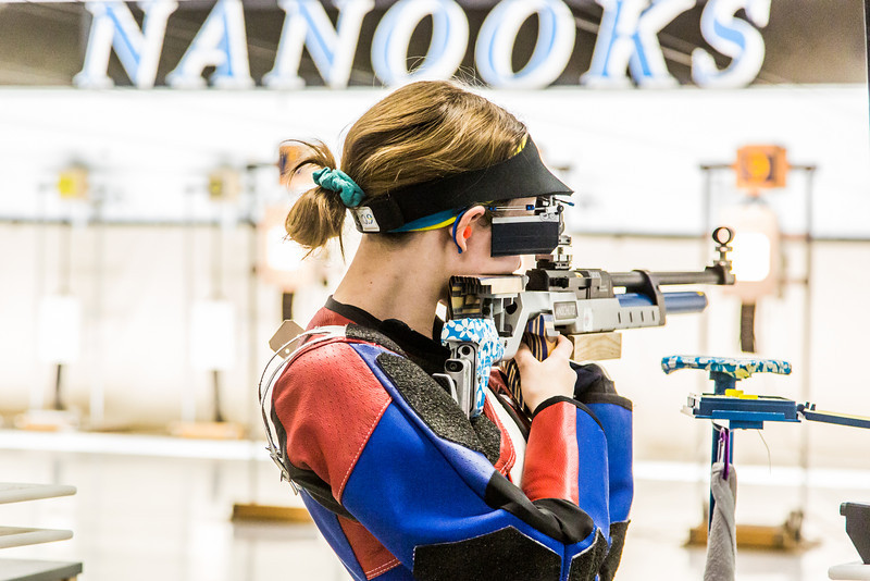 """Sophomore Jamie Barnes competes in the air rifle event during the Nanooks' meet against the Citidel Jan. 20 in the E.F. Horton Rifle Range on the Fairbanks campus.  <div class=""""ss-paypal-button"""">Filename: ATH-14-4042-73.jpg</div><div class=""""ss-paypal-button-end"""" style=""""""""></div>"""