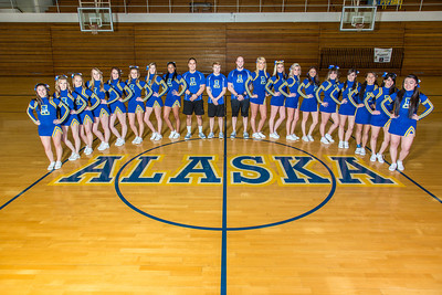 The 2014 Nanook cheerleaders pose in the Patty Gym.  Filename: ATH-14-4044-13.jpg