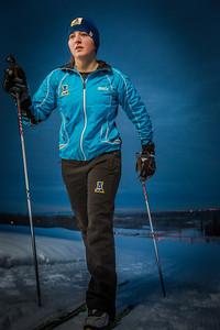 Freshman skier Hannah Stevens gets in some practice time on the UAF ski trails.  Filename: ATH-13-4013-23.jpg