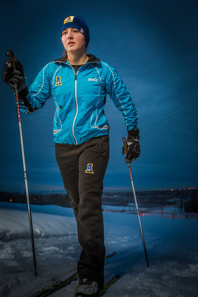"""Freshman skier Hannah Stevens gets in some practice time on the UAF ski trails.  <div class=""""ss-paypal-button"""">Filename: ATH-13-4013-23.jpg</div><div class=""""ss-paypal-button-end"""" style=""""""""></div>"""