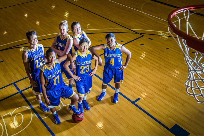 "From left to right, Jacqueline Lovato, #22, Teanna Boxley, #11, Taylor Altenburg, #1, Kelly Logue, Marissa Atoruk, #23 and Benissa Bulaya of the Lady Nanooks.  <div class=""ss-paypal-button"">Filename: ATH-12-3625-029.jpg</div><div class=""ss-paypal-button-end"" style=""""></div>"