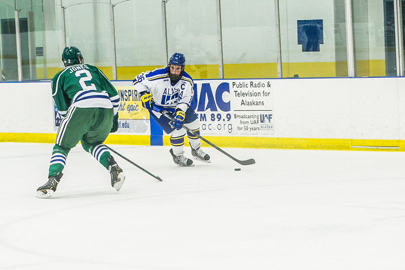 """Senior Colton Beck controls the puck early in the Nanooks' game against the Mercyhurst Lakers in the Patty Ice Arena.  <div class=""""ss-paypal-button"""">Filename: ATH-13-3982-33.jpg</div><div class=""""ss-paypal-button-end"""" style=""""""""></div>"""