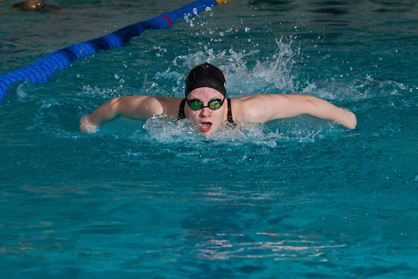 """Freshman Margot Adams swims the butterfly for the Nanooks' A squad in the 400-yard medley relay during a dual meet against Colorado Mesa in the Patty pool.  <div class=""""ss-paypal-button"""">Filename: ATH-12-3267-011.jpg</div><div class=""""ss-paypal-button-end"""" style=""""""""></div>"""