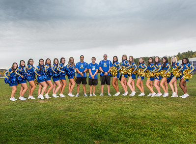 UAF cheerleaders pose in front of the SRC on the Fairbanks campus.  Filename: ATH-13-3943-17.jpg