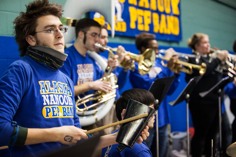 "Alexander Bergman jams on the cowbell with the Alaska Nanooks Pep Band at a men's hockey game against Bowling Green State University Saturday, Dec. 8, 2012 at the Carlson Center.  <div class=""ss-paypal-button"">Filename: ATH-12-3676-99.jpg</div><div class=""ss-paypal-button-end"" style=""""></div>"