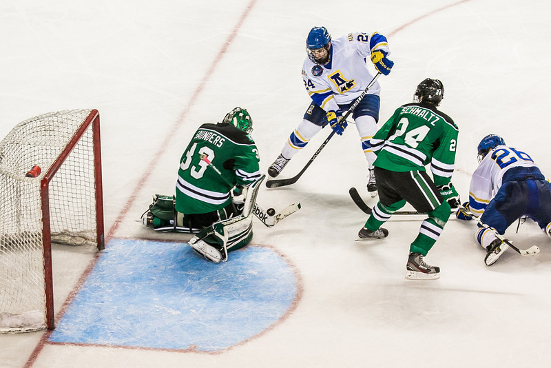 "Freshman Nolan Huysmans gets a good chance to score during the Nanooks' 2-1 win over North Dakota in the Carlson Center.  <div class=""ss-paypal-button"">Filename: ATH-12-3601-169.jpg</div><div class=""ss-paypal-button-end"" style=""""></div>"