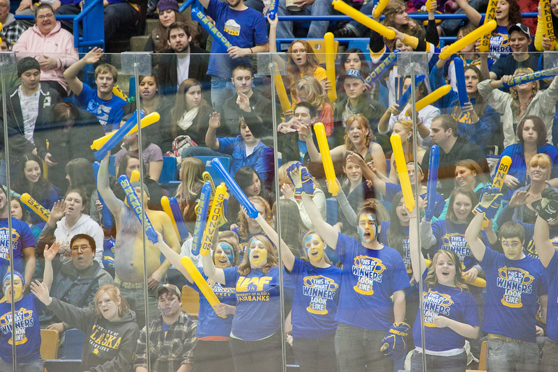 "Fans in the student section of the Carlson Center react to a penalty called on the opponents during the Nanooks' battle against the UAA Seawolves for the coveted Governor's Cup trophy.  <div class=""ss-paypal-button"">Filename: ATH-12-3304-030.jpg</div><div class=""ss-paypal-button-end"" style=""""></div>"