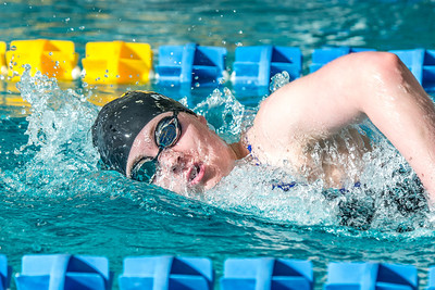 Freshman Kathryn Pound strokes her way toward the finish line to win the 1000-yard freestyle event during the Nanooks' meet against Loyola Marymount in the Patty Pool.  Filename: ATH-13-3991-67.jpg
