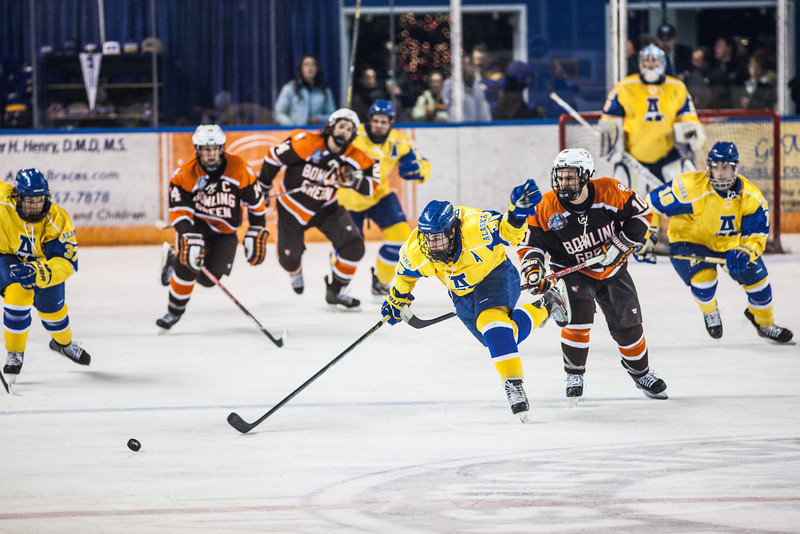 """UAF Nanooks' Mens Hockey Team face off Bowling Green State University Saturday, Dec. 8, 2012, at the Carlson Center. The Nanooks won the shootout at the end of a tied game.  <div class=""""ss-paypal-button"""">Filename: ATH-12-3676-130.jpg</div><div class=""""ss-paypal-button-end"""" style=""""""""></div>"""