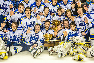 The Nanooks celebrate after succesfully defending the Alaska's Governor's Cup  with a shoot-out victory over the UAA Seawolves March 8.  Filename: ATH-14-4109-316.jpg