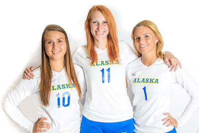 Seniors Samantha Hesterman, Sam Harthun and Amanda Grieser led the Nanooks during the 2015 season.  Filename: ATH-15-4615-199.jpg