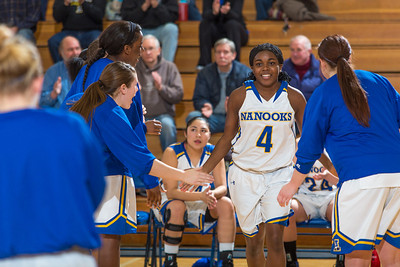 Junior point guard Benissa Bulaya cracks a smile as she introduced before their first GNAC game of the season against Seattle Pacific.  Filename: ATH-13-4015-1.jpg