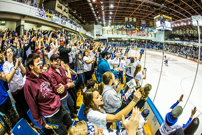 The Nanook faithful go crazy in the stands after a goal during the Nanooks game against the UAA Seawolves for the 2014 Governor's Cup March 8 in the Carlson Center.  Filename: ATH-14-4109-262.jpg