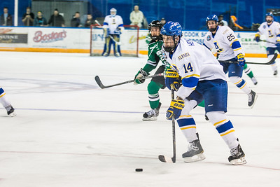 Senior Adam Henderson looks toward the goal during the Nanooks' 2-1 win over North Dakota in the Carlson Center.  Filename: ATH-12-3601-19.jpg