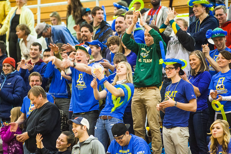 """Point Nooks! UAF students cheer the volleyball team after scoring a point in a volleyball game against  <div class=""""ss-paypal-button"""">Filename: ATH-12-3618-26.jpg</div><div class=""""ss-paypal-button-end"""" style=""""""""></div>"""