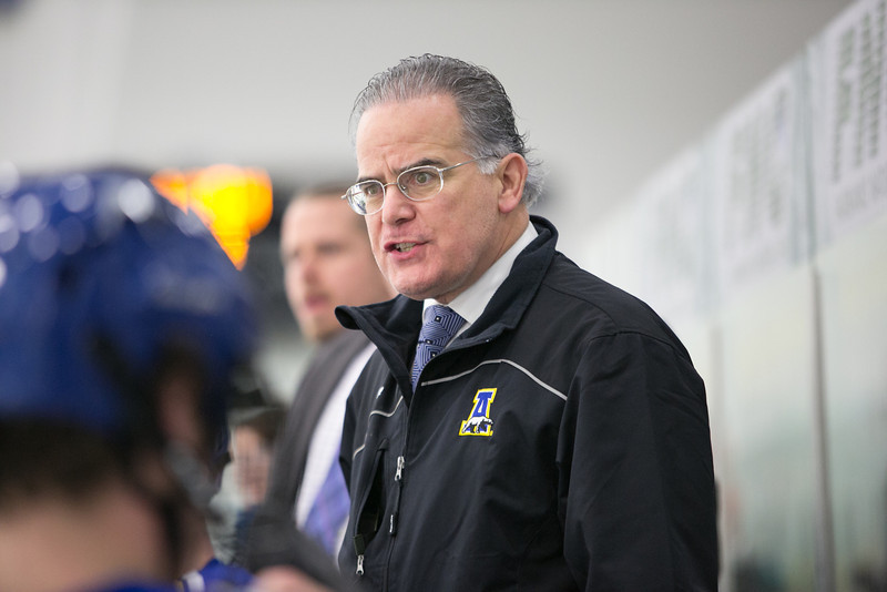 "Team physician Cary Keller intently watches the action from the bench during the Nanooks' game against the Mercyhurst Lakers in the Patty Ice Arena.  <div class=""ss-paypal-button"">Filename: ATH-13-3982-85.jpg</div><div class=""ss-paypal-button-end"" style=""""></div>"