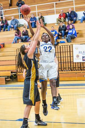 Junior forward Delisa Chapman shoots a close jumper during the first half of the championship game of the North Star Invitational Tournament against Wayne State in the Patty Gym.  Filename: ATH-13-4010-17.jpg
