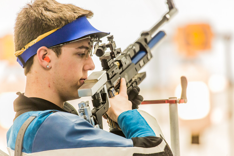 """Sophomore Tim Sherry concentrates between shots while competing in the small bore event during the Nanooks' meet against the Citidel Jan. 20 in the E.F. Horton Rifle Range on the Fairbanks campus.  <div class=""""ss-paypal-button"""">Filename: ATH-14-4042-40.jpg</div><div class=""""ss-paypal-button-end"""" style=""""""""></div>"""