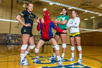 Members of the Nanook volleyball team don superhero costumes to promote upcoming special events.  Filename: ATH-13-3908-128.jpg