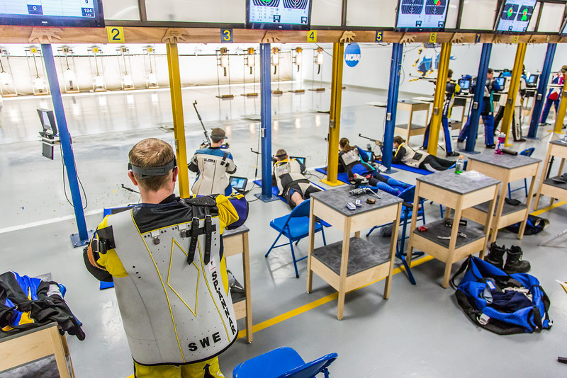 """The Nanooks' rifle team competes against the Citidel Jan. 20 in the E.F. Horton Rifle Range on the Fairbanks campus.  <div class=""""ss-paypal-button"""">Filename: ATH-14-4042-82.jpg</div><div class=""""ss-paypal-button-end"""" style=""""""""></div>"""