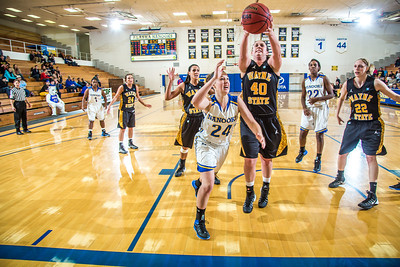 Freshman guard Autumn Bhilders tries for an offensive rebound during the second half of the championship game of the North Star Invitational Tournament against Wayne State in the Patty Gym.  Filename: ATH-13-4010-109.jpg