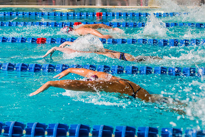 Swimmers from UAF and Loyola Marymount compete in the 100-yard butterfly event during their dual meet in the Patty Pool.  Filename: ATH-13-3991-150.jpg