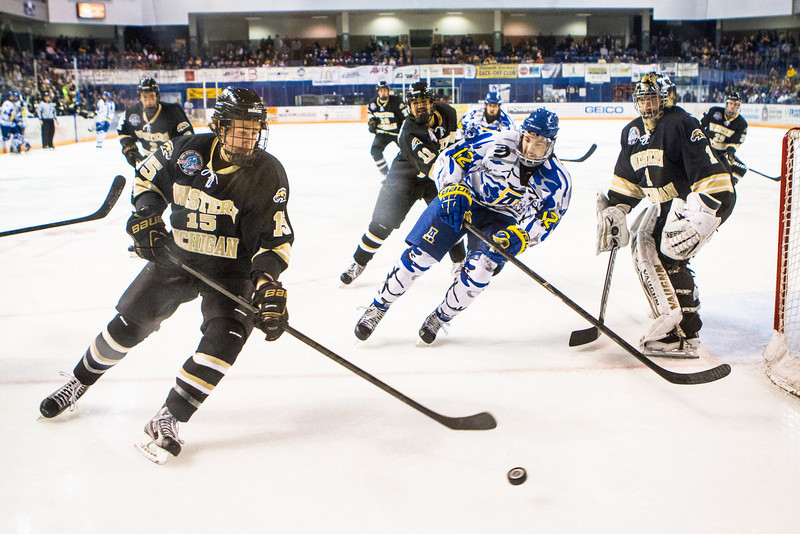 """UAF Mens Hockey Team sports on blue camouflage jerseys as part of a 10-day military appreciation event hosted by the Alaska Nanooks at a game against Western Michigan Nov. 16, 2012 at the Carlson Center.  <div class=""""ss-paypal-button"""">Filename: ATH-12-3656-51.jpg</div><div class=""""ss-paypal-button-end"""" style=""""""""></div>"""