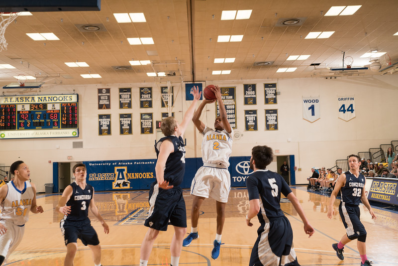 """Freshman Derritt Scarver gets off a nice jumpshot during the Nanooks' 92-69 win over Concordia University Feb. 20 in the Patty Gym.  <div class=""""ss-paypal-button"""">Filename: ATH-16-4810-85.jpg</div><div class=""""ss-paypal-button-end""""></div>"""