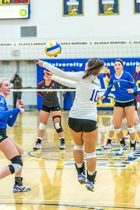 Sophomore Samantha Hesterman returns a shot against Central Washington.  Filename: ATH-13-3980-63.jpg