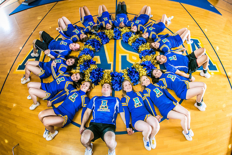 "The UAF cheerleading squad performs a variety of poses and routines during a practice session in the Patty Gym.  <div class=""ss-paypal-button"">Filename: ATH-13-3751-325.jpg</div><div class=""ss-paypal-button-end"" style=""""></div>"
