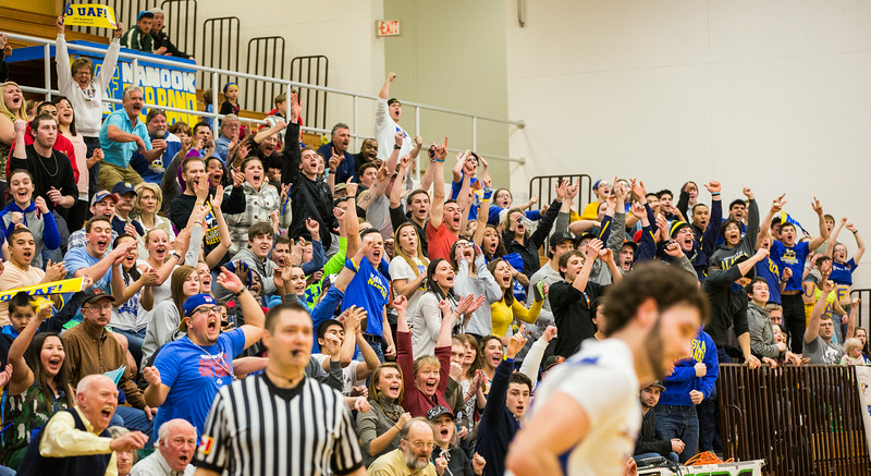 """The crowds go wild after the Nanooks Mens Basketball team score against University of Alaska Anchorage.  <div class=""""ss-paypal-button"""">Filename: ATH-14-4098-282.jpg</div><div class=""""ss-paypal-button-end""""></div>"""
