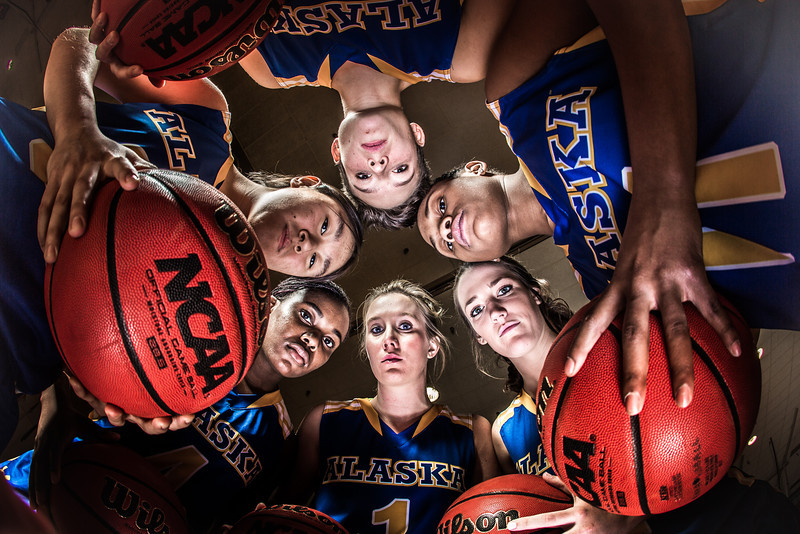 """Members of the Lady Nanooks pose for a promotional photo in the Patty Center gym.  <div class=""""ss-paypal-button"""">Filename: ATH-12-3625-240.jpg</div><div class=""""ss-paypal-button-end"""" style=""""""""></div>"""