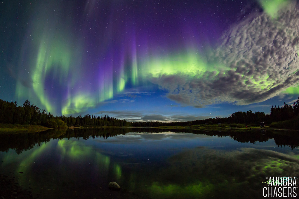 Aurora reflection with moonlight