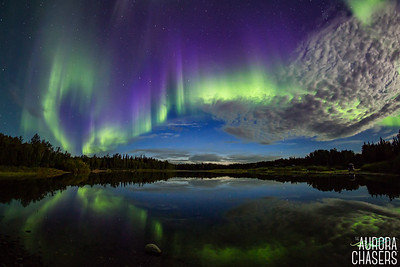 Aurora reflection in moonlight
